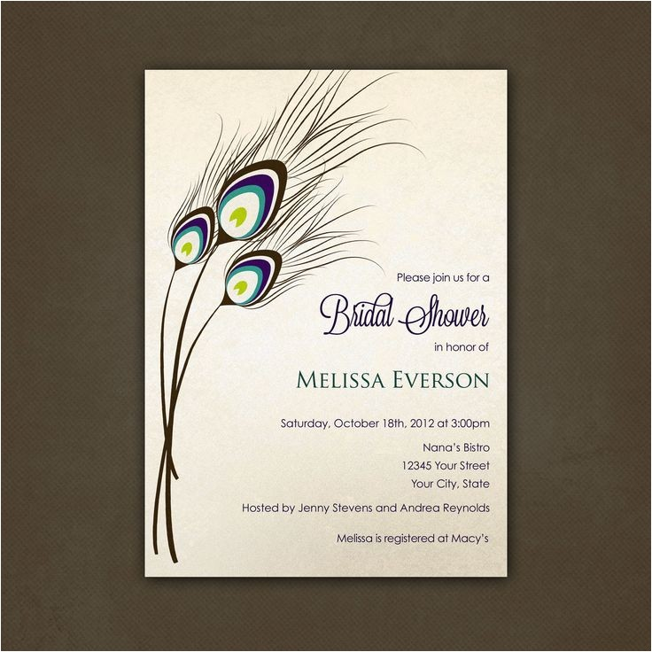 bridal shower invitations peacock
