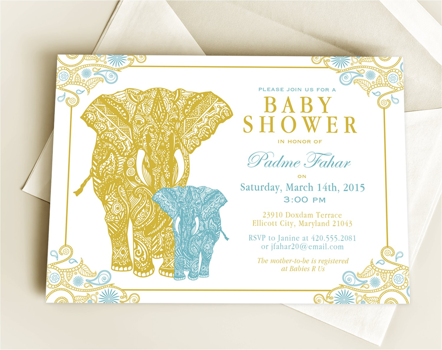 elephant peacock bridal shower invitations