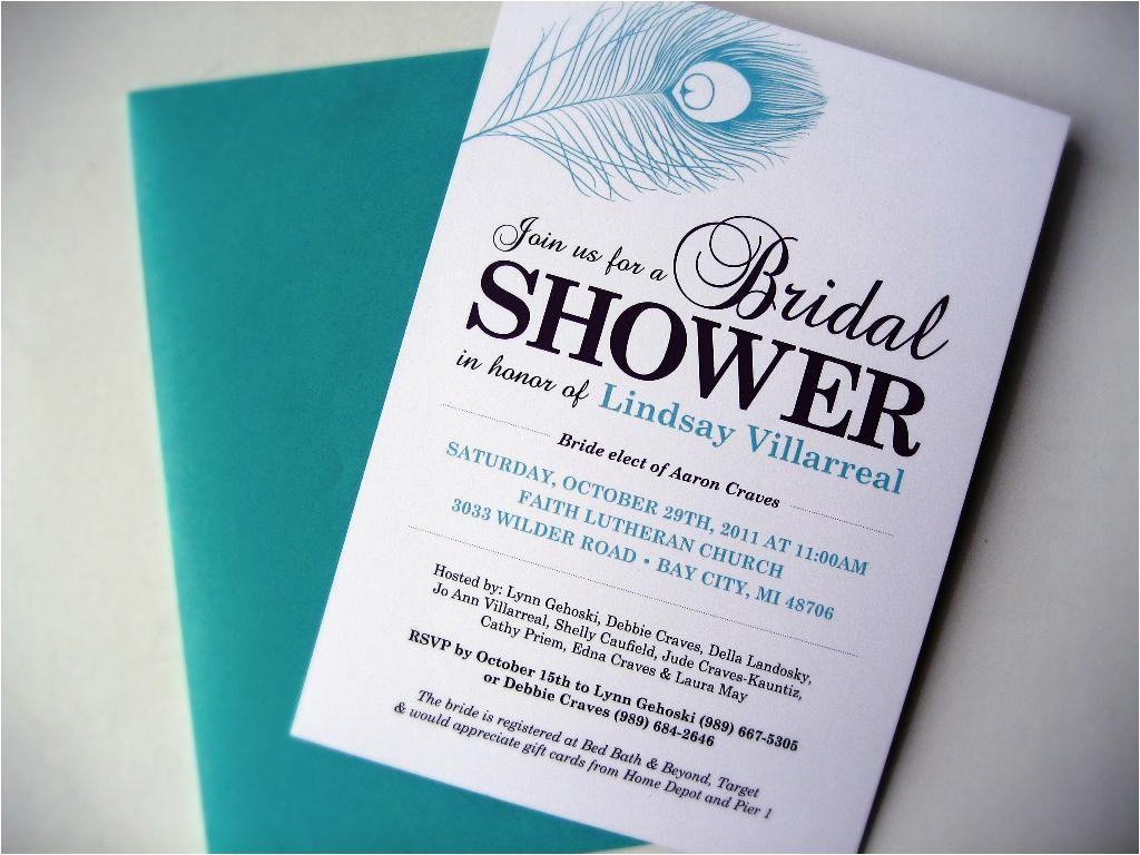 peacock bridal shower invitations etsy