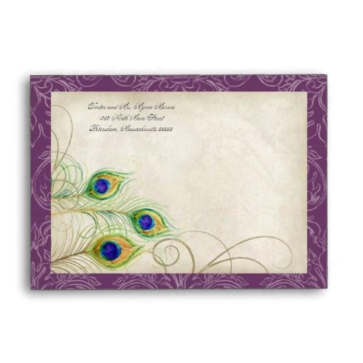 peacock feathers purple quinceanera invitation envelope 121228777800616976