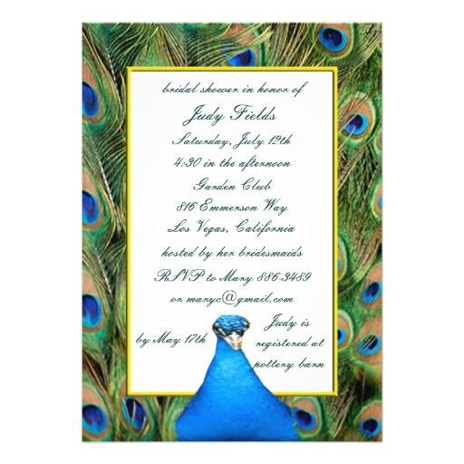 zazzle peacock bridal shower invitations