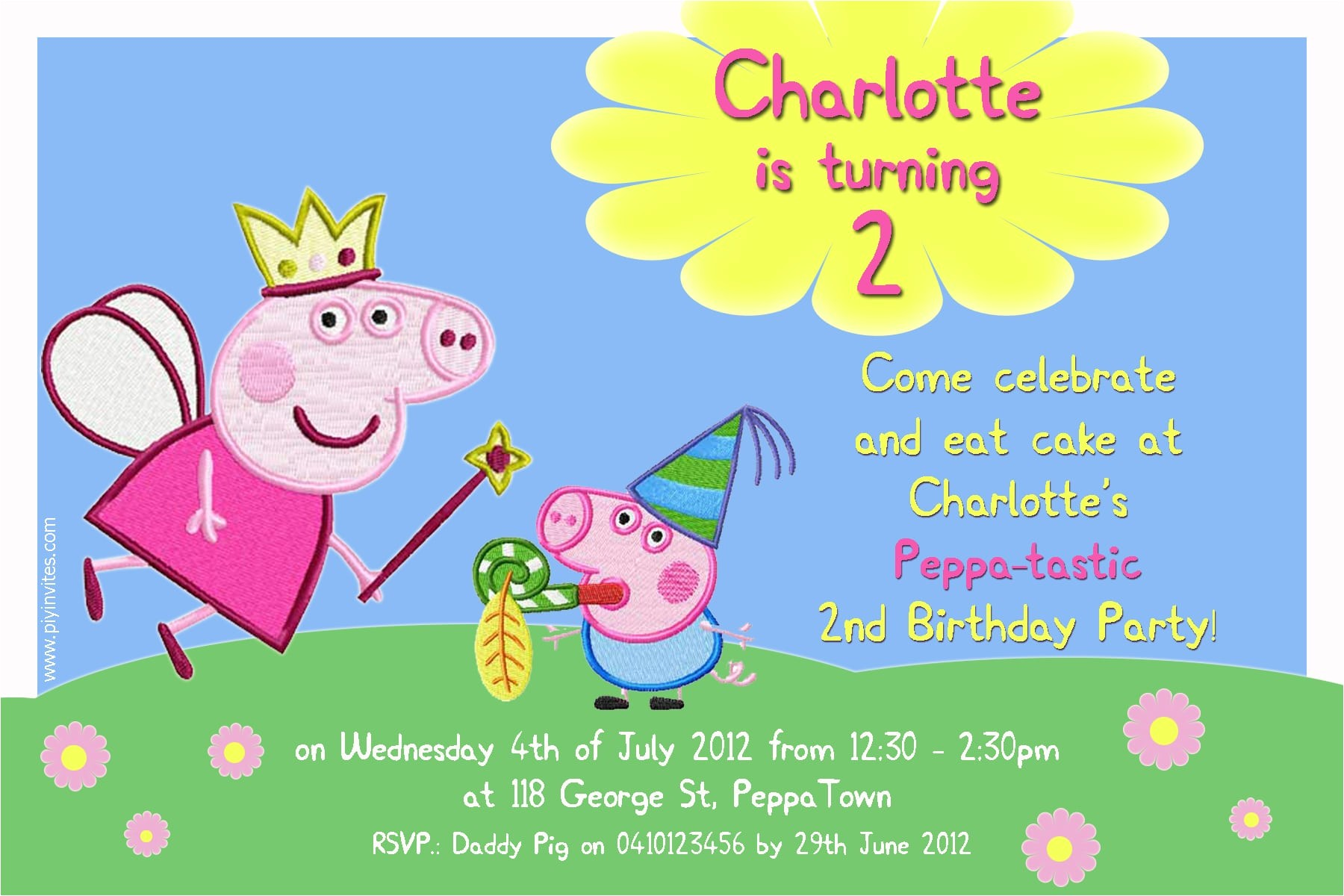 birthday invitation word template peppa pig
