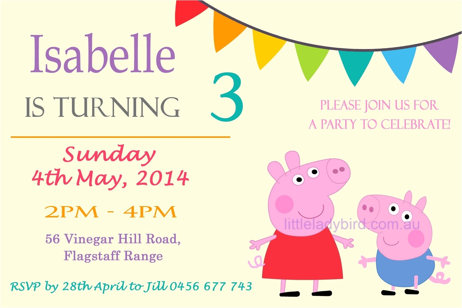 peppa pig birthday invitations online free