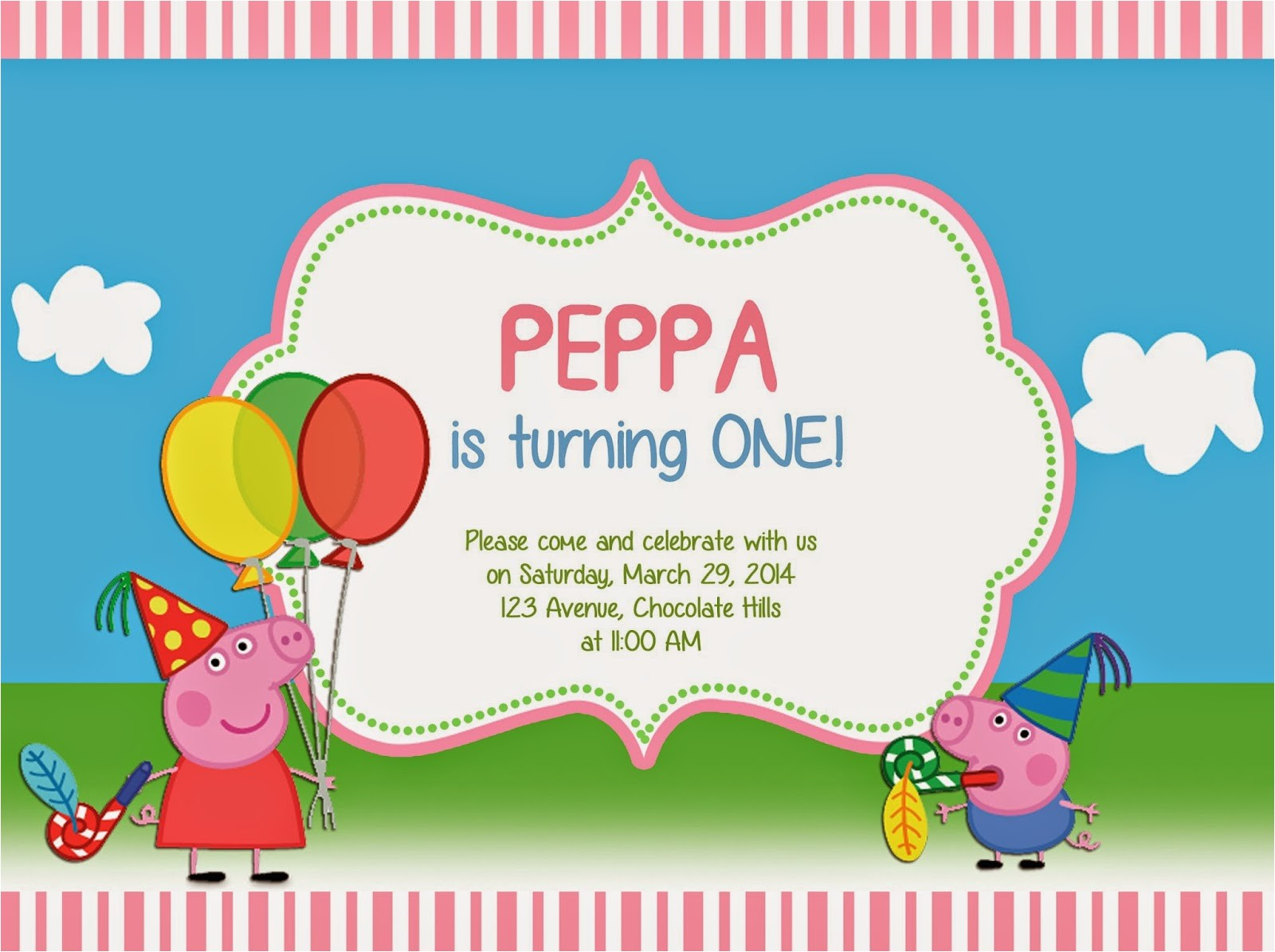 peppa pig invites template