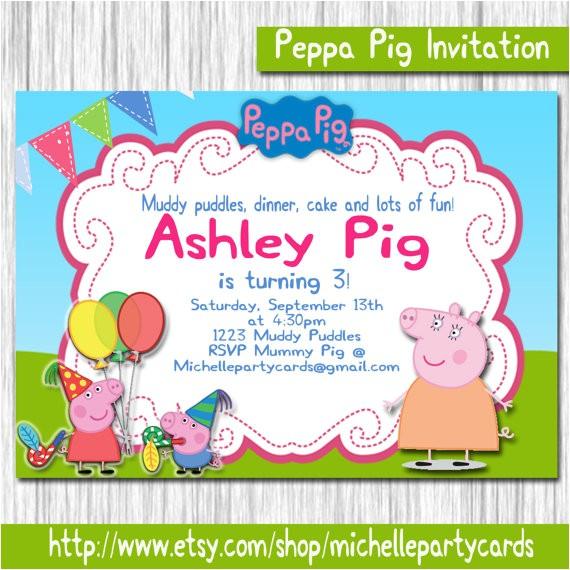 peppa pig invitation peppa pig birthday