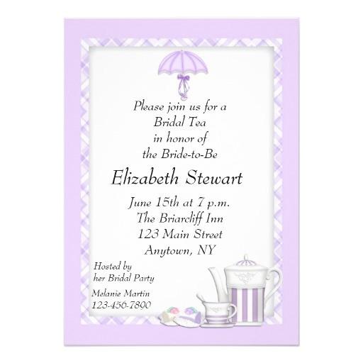 bridal shower tea purple personalized invitations 161434446823517491