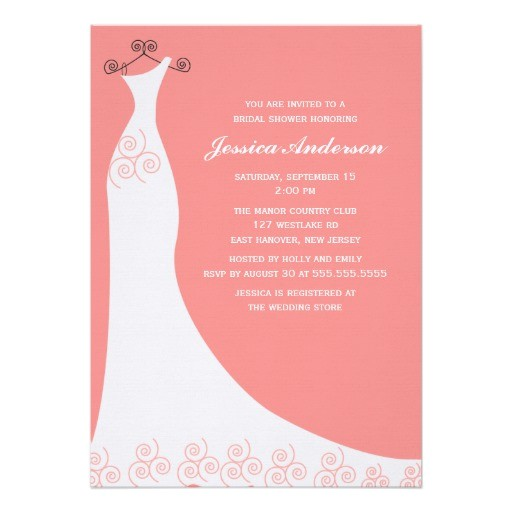 coral wedding gown bridal shower invitation 161196336593370387