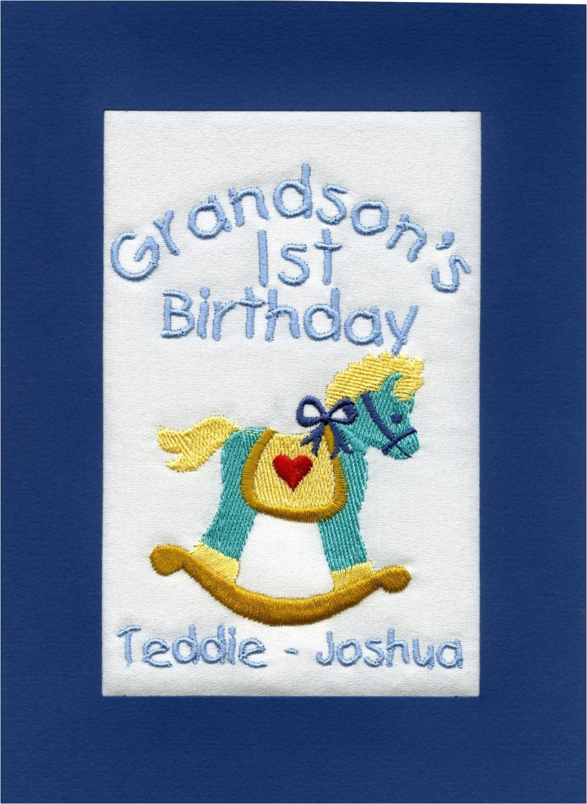 handmade personalised embroidered grandson 1st birthday cards 160995301633