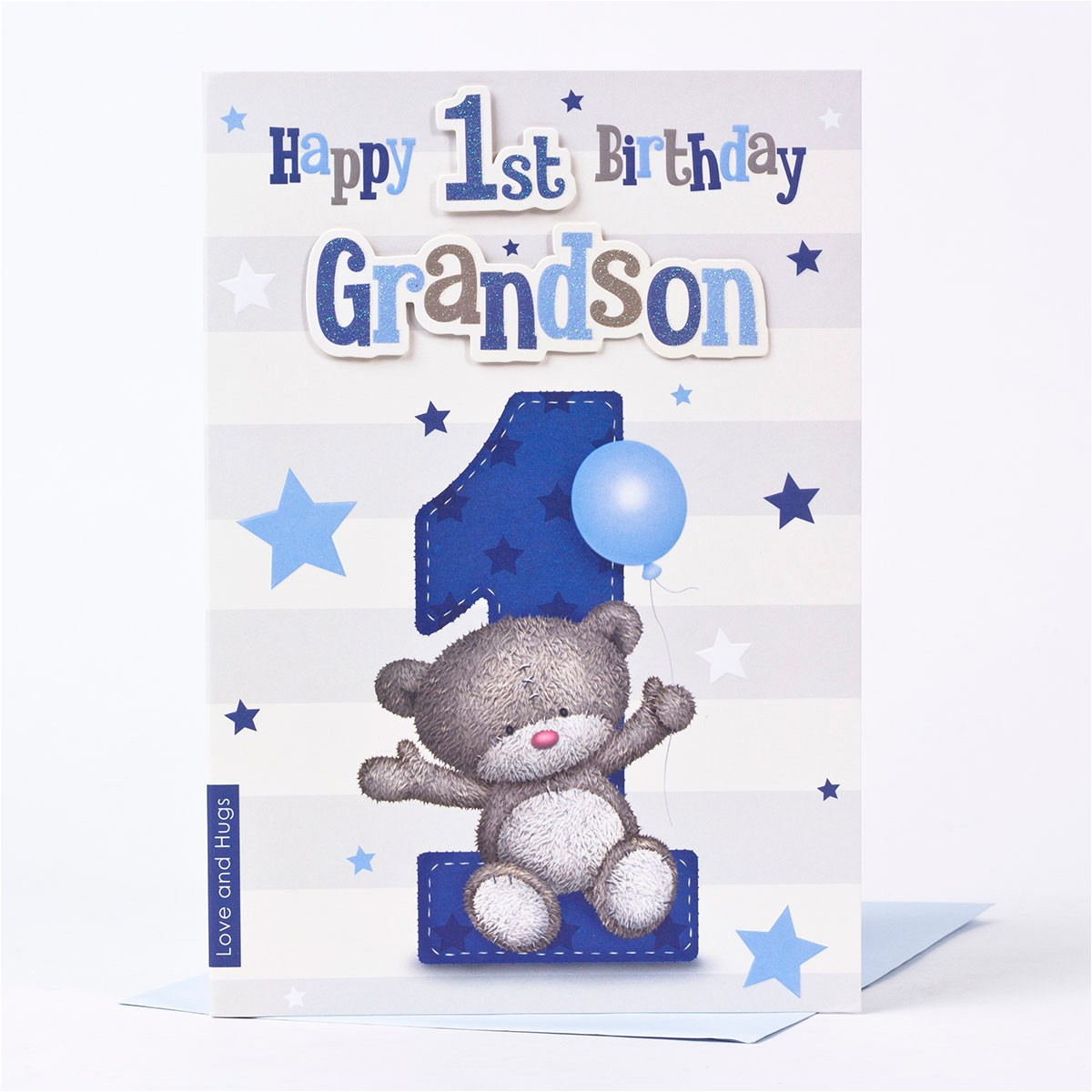 hugs 1st birthday card grandson