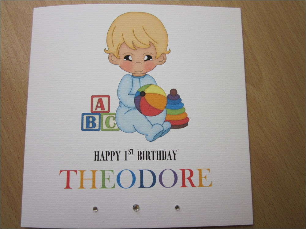 Personalised 1st Birthday Cards for son Personalised Handmade Boys 1st First Birthday Card son
