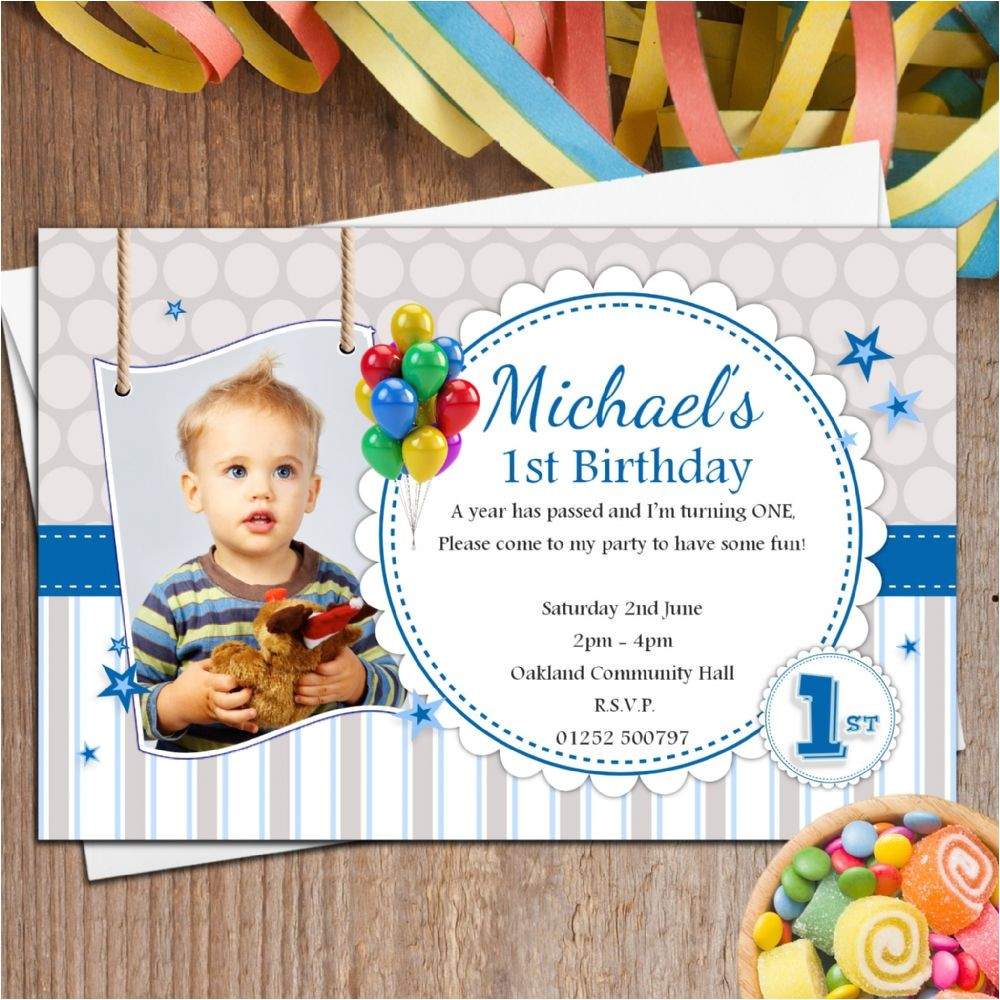 10 personalised boys 1st first birthday party photo invitations n35 p