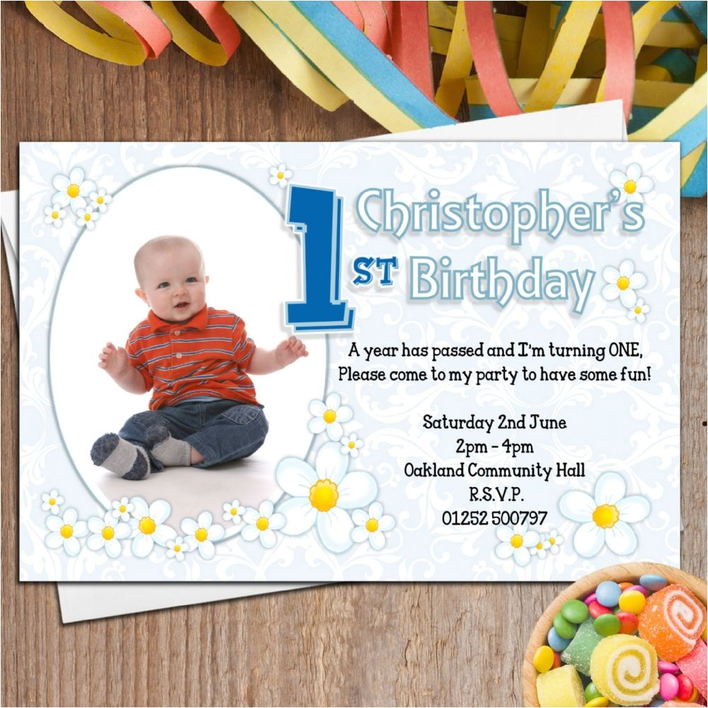 10 personalised boys first 1st birthday party photo invitations n26 p