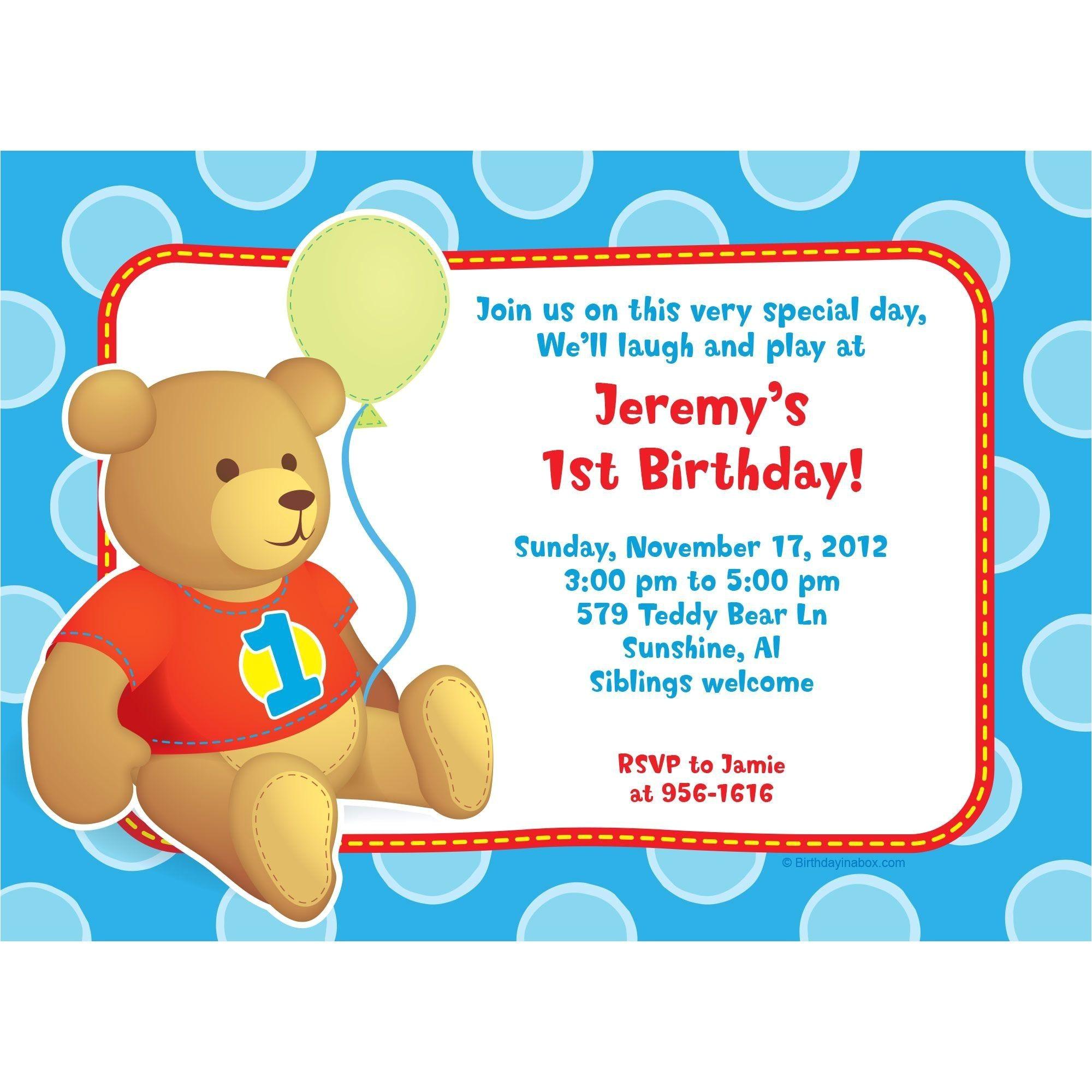hugs and stitches boy 1st birthday personalized invitation BB