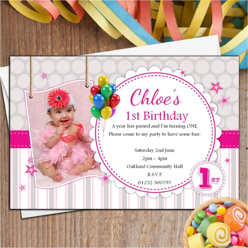 10 personalised girls 1st first birthday party photo invitations n36 13924 p