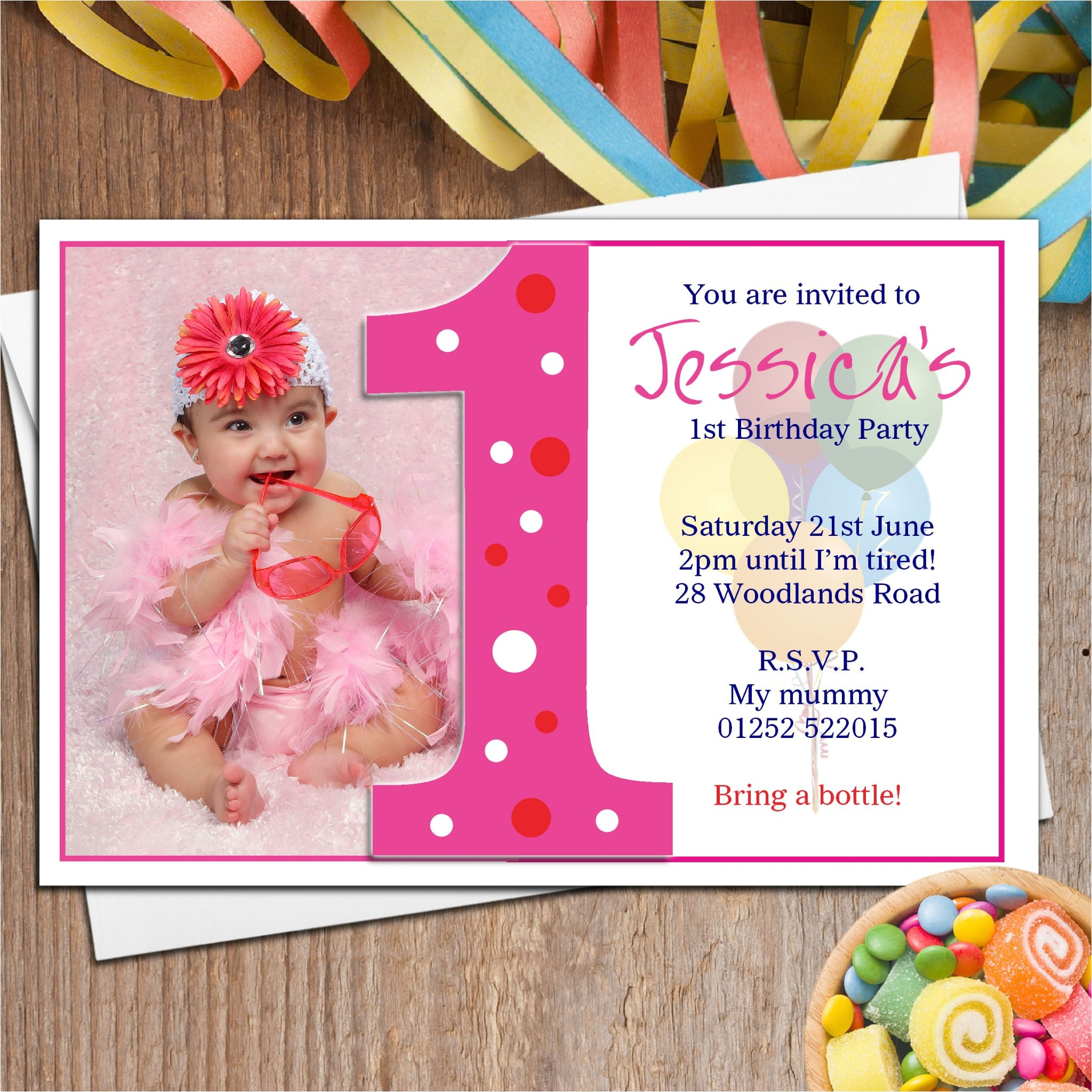 10 personalised girls first 1st birthday party photo invitations n18 4359 p