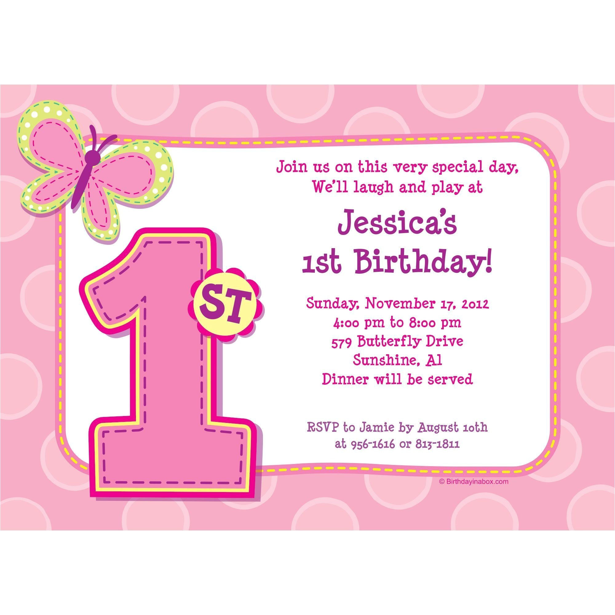 1st birthday girl personalized invitation each