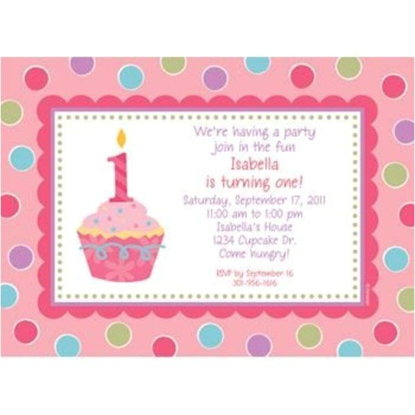 cupcake 1st birthday girl personalized invitation each