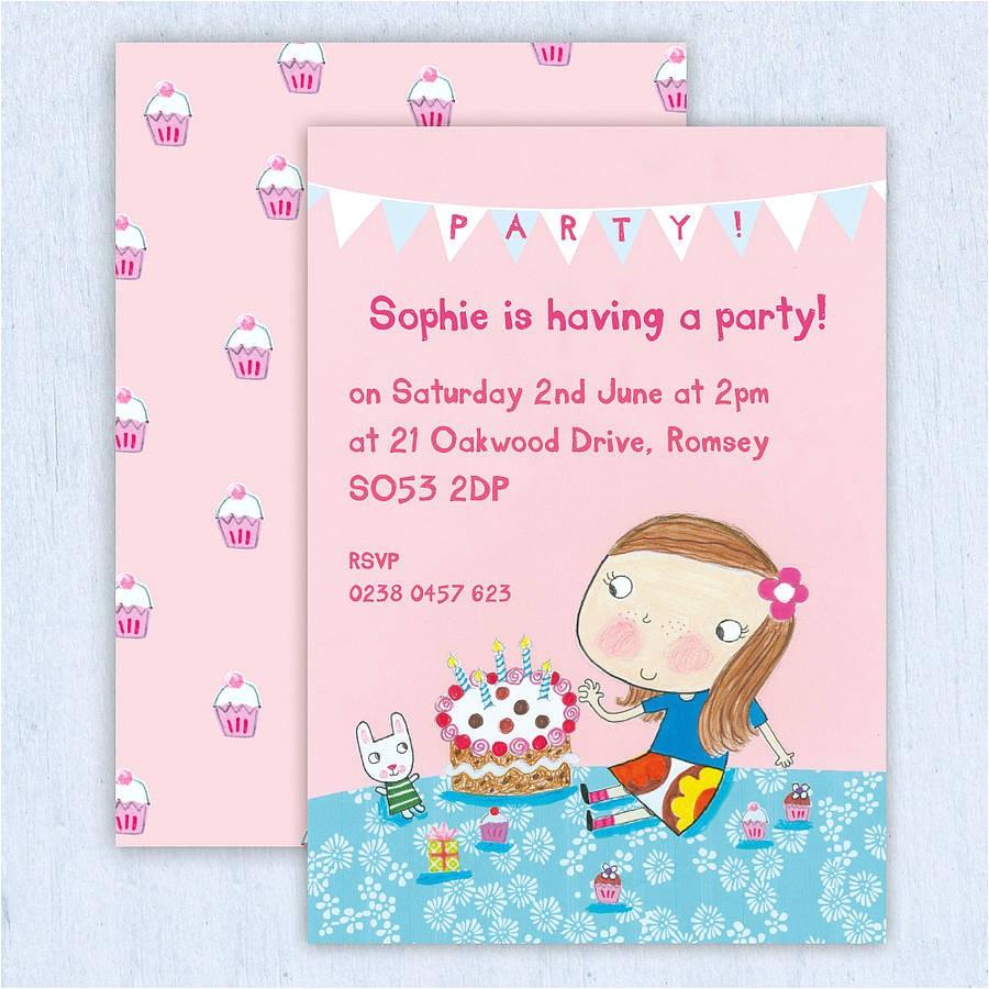 personalised girls birthday invitations