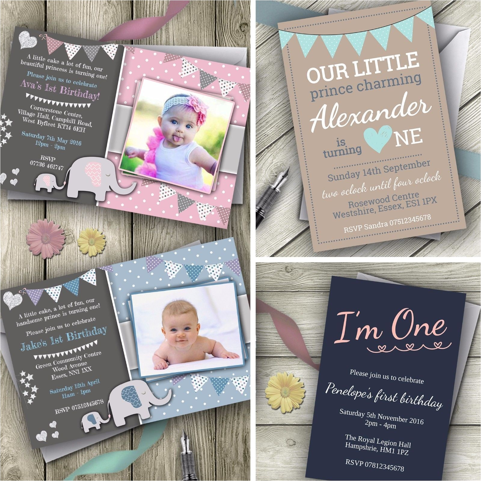 Girls 1st Birthday Invitations Party Invites Free Delivery