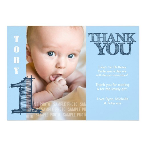 baby boy blue 1st birthday thank you photo card invitation