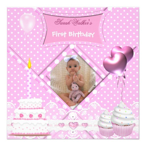 first birthday 1st girl spot pink cupcake cake invitation