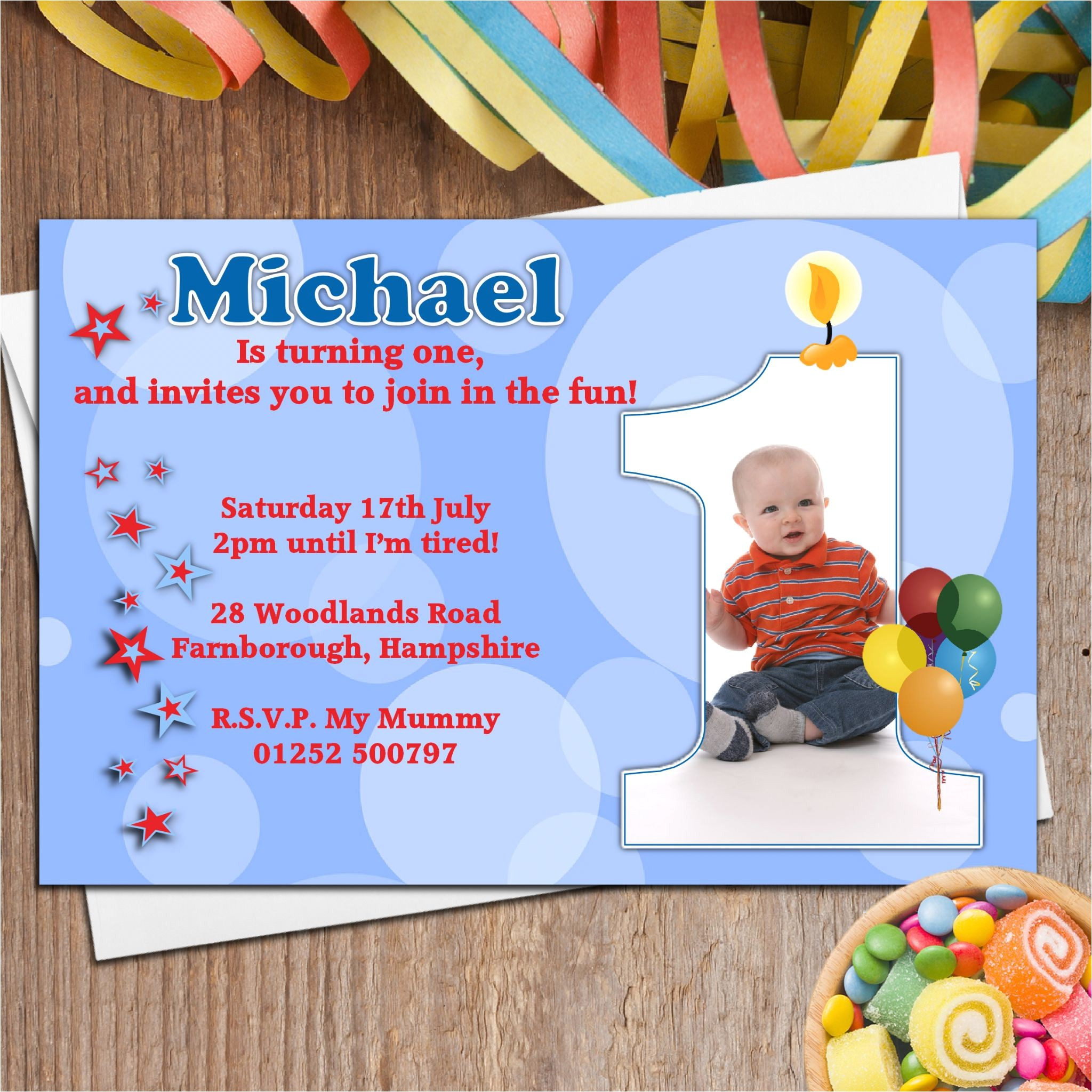 10 boys personalised first 1st birthday party photo invitations n19 4711 p