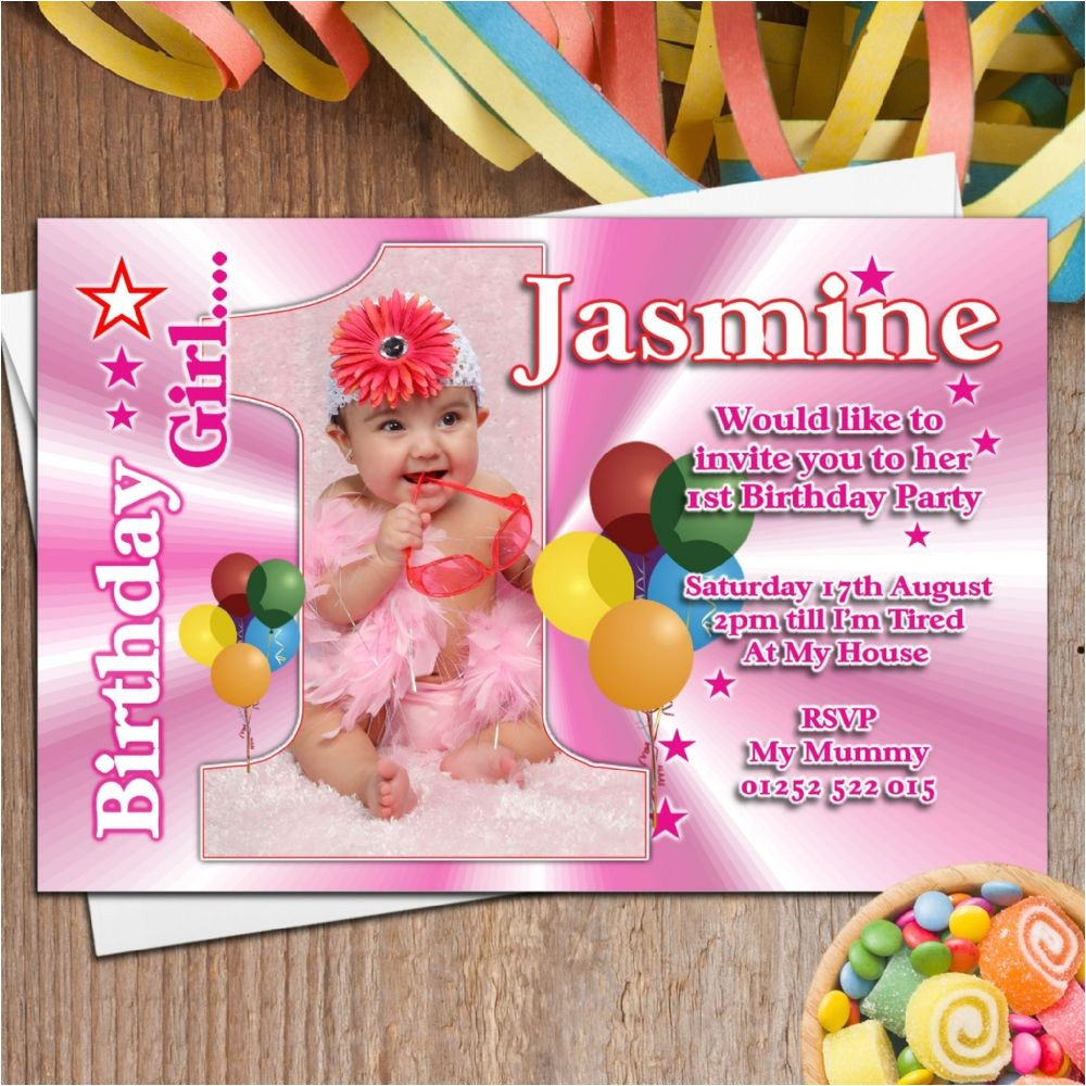 10 girls personalised first 1st birthday party photo invitations n21 5105 p