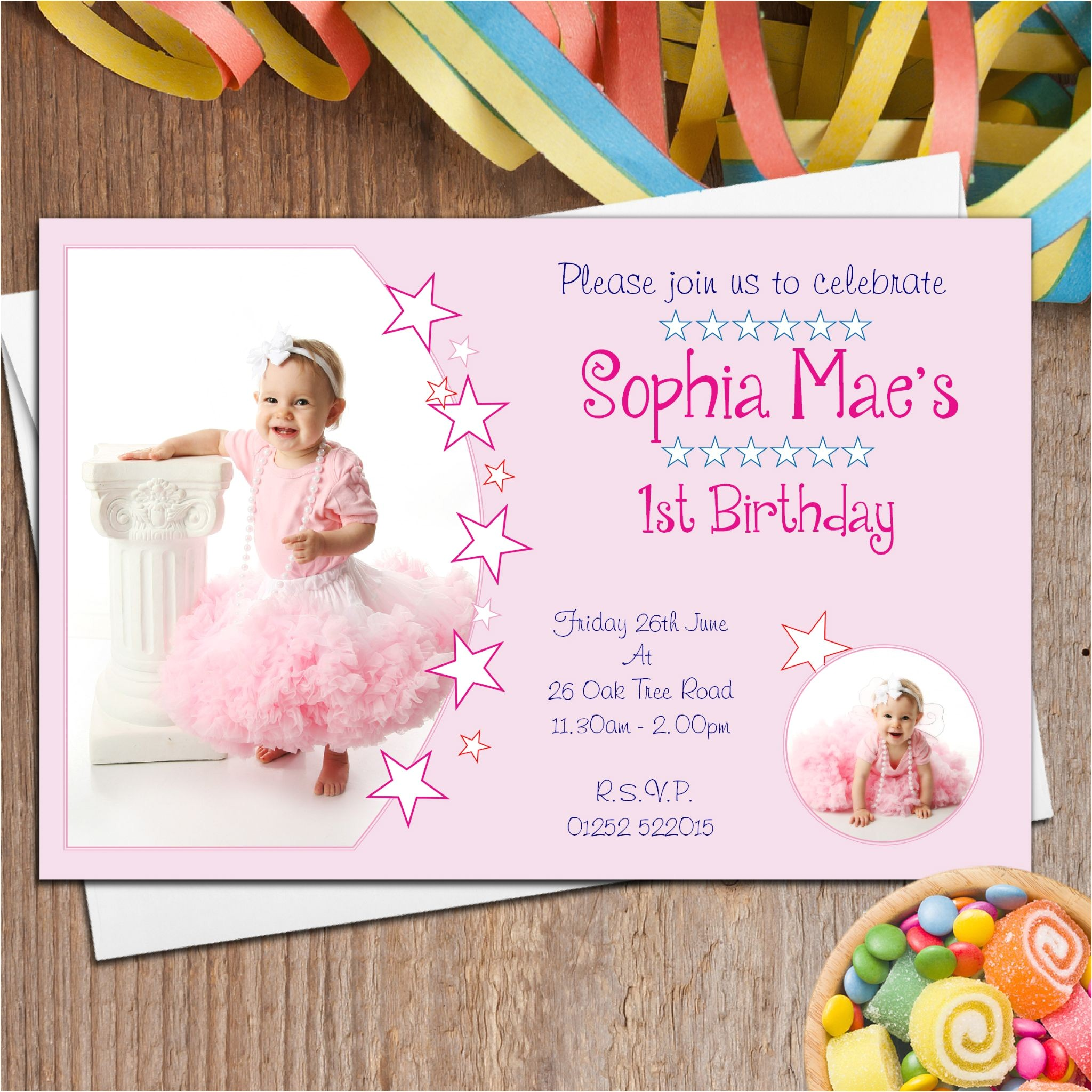 10 personalised girls first 1st birthday party photo invitations n29 12715 p