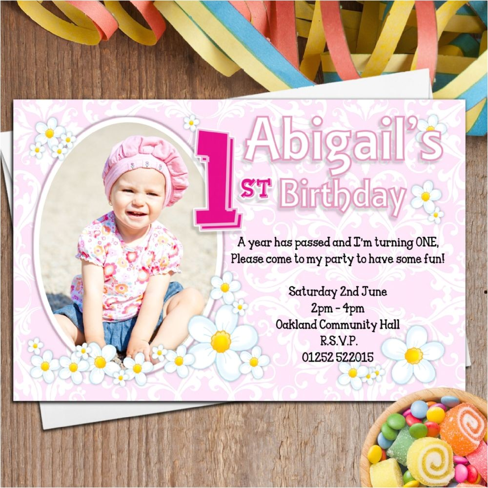 10 personalised girls first 1st birthday party photo invitations n27 11350 p