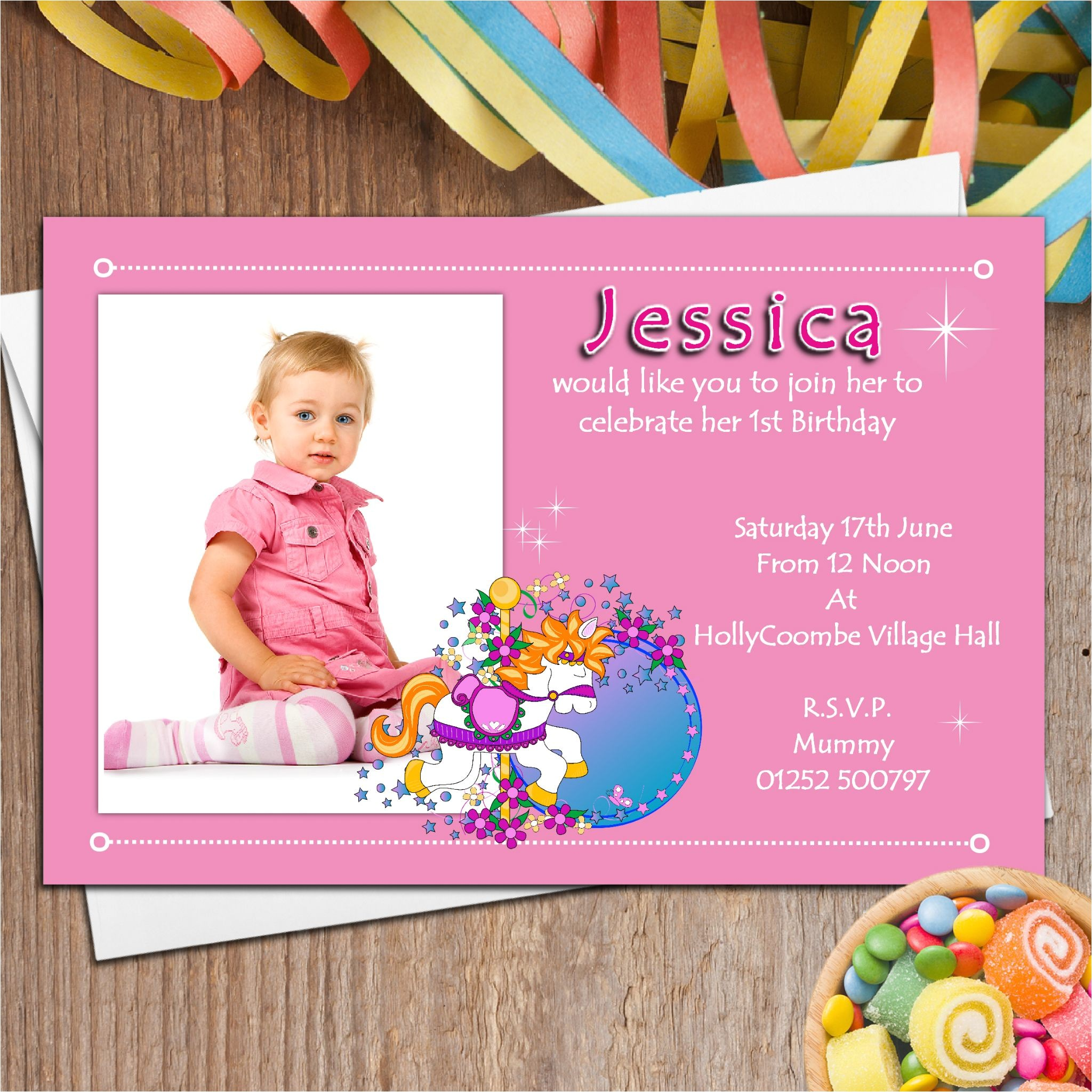 10 personalised girls first 1st birthday party photo invitations n11 1724 p