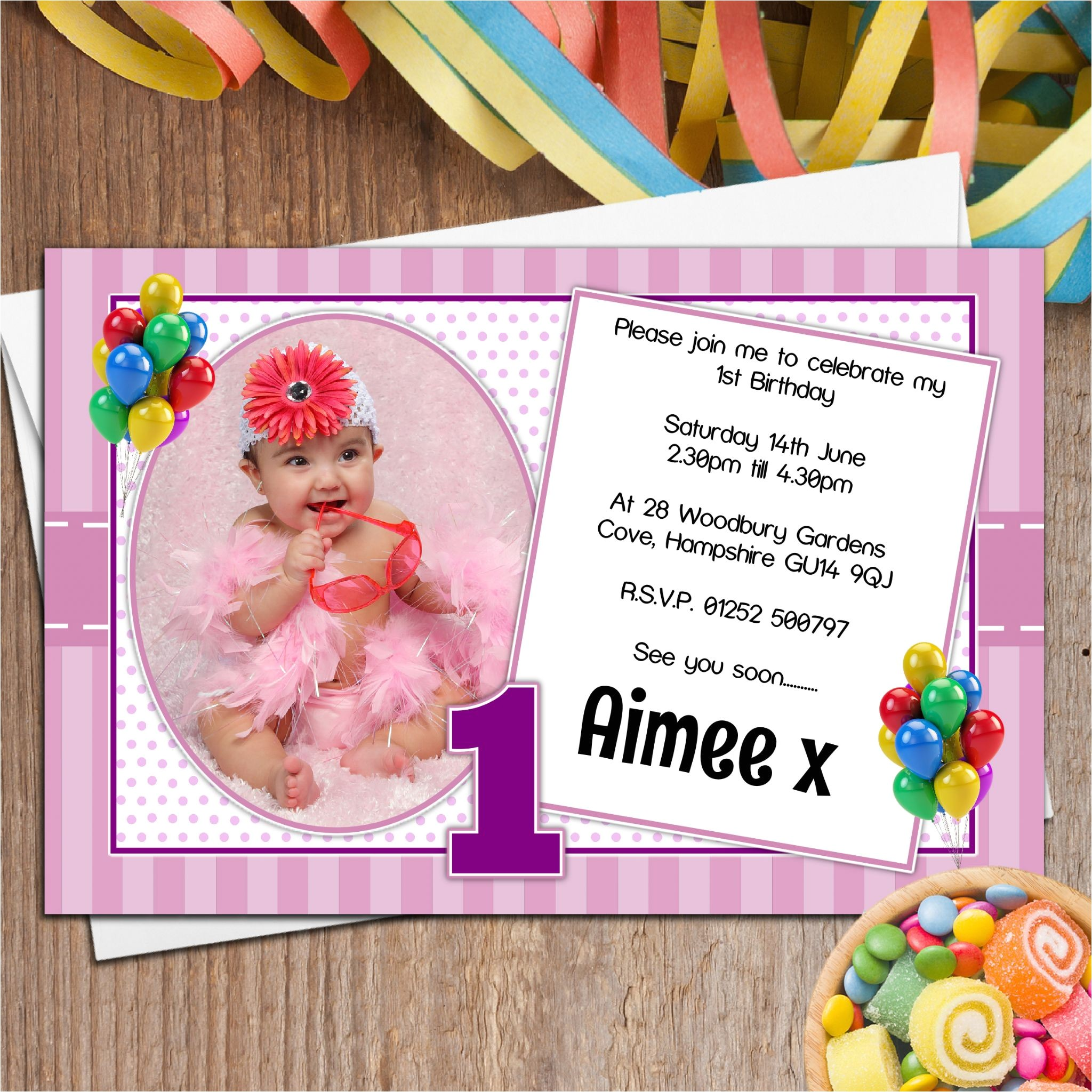 10 personalised girls first 1st birthday party photo invitations n32 13616 p