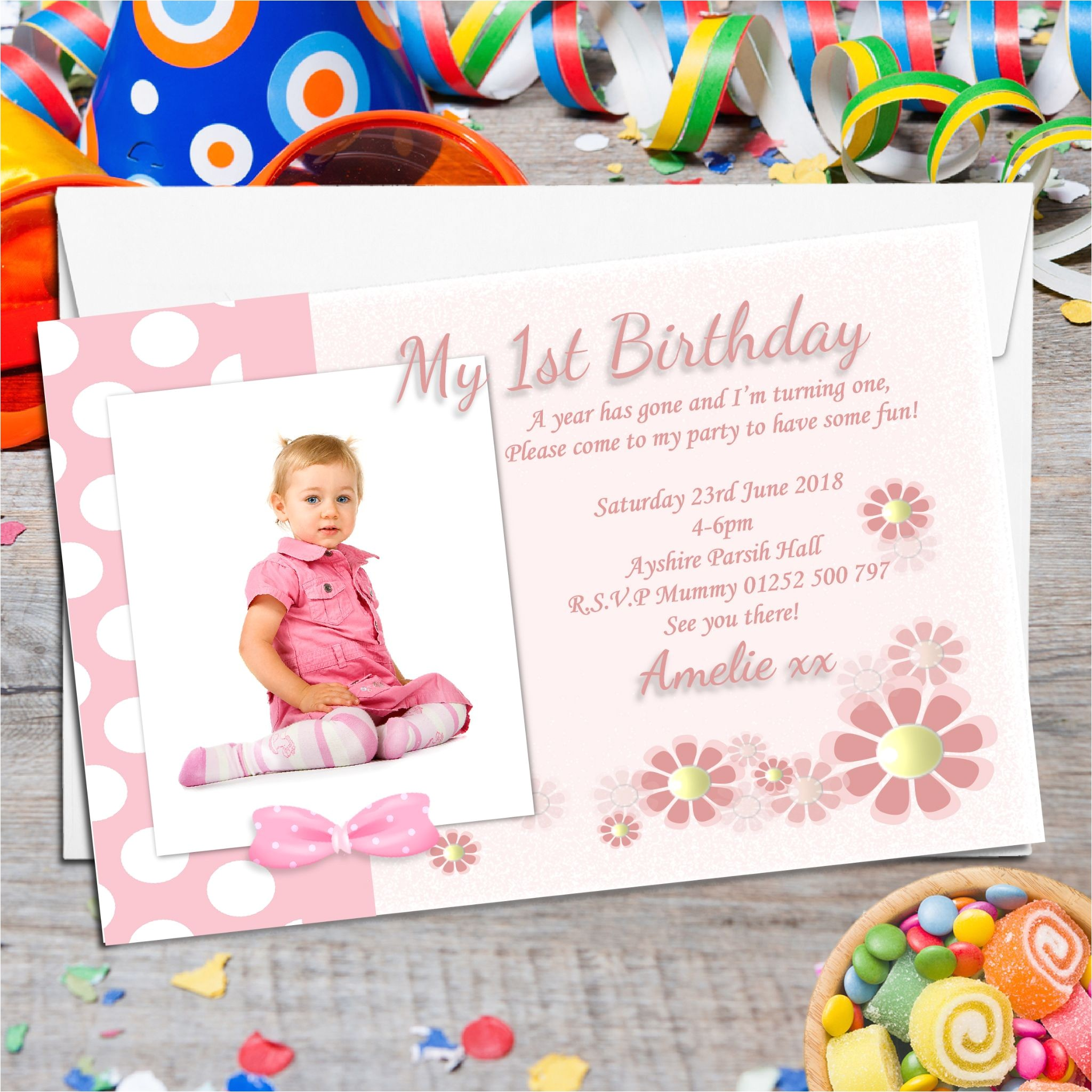 10 personalised girls first birthday party photo invitations n14 529 p