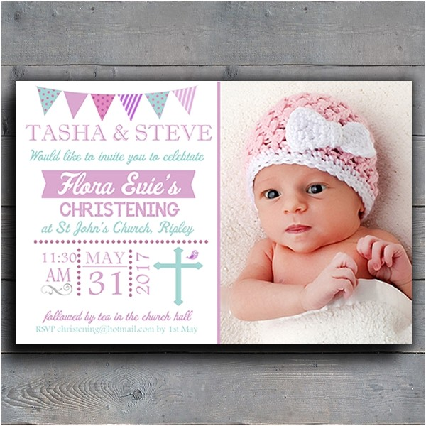 personalised bunting girls christening baptism invitations invites