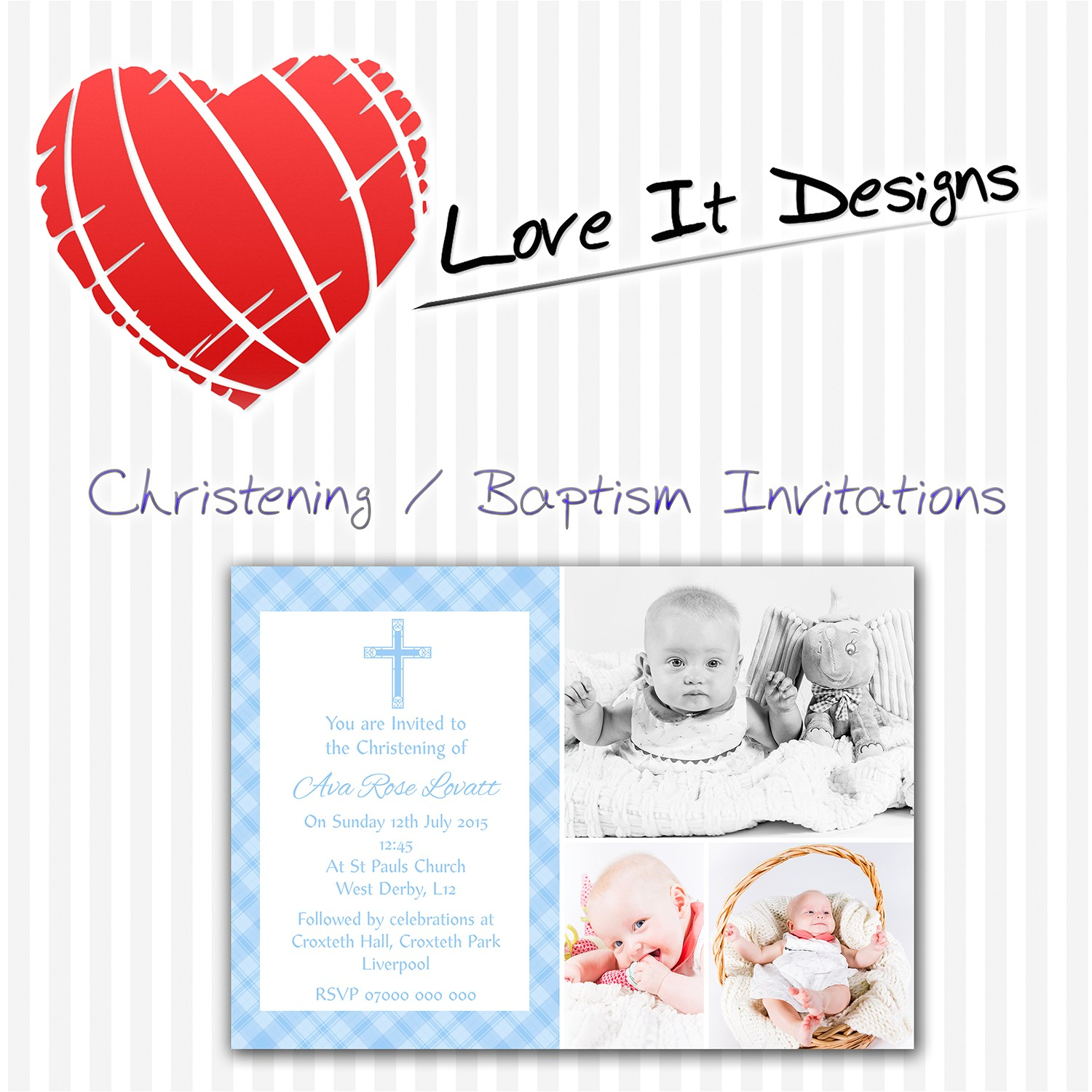 personalised christening baptism invitations a006