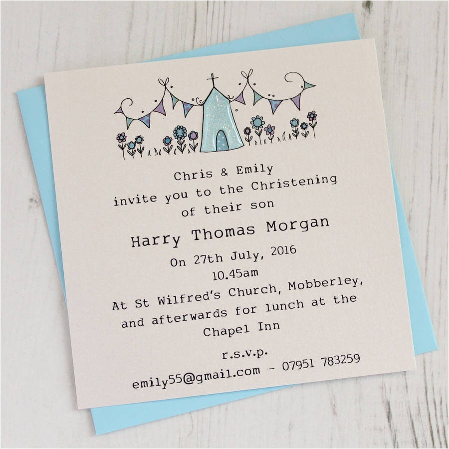 personalised pack of christening invitations