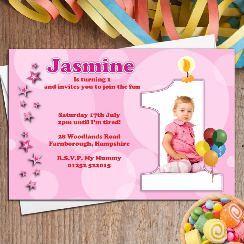10 personalised girls first 1st birthday party photo invitations n20 4712 p