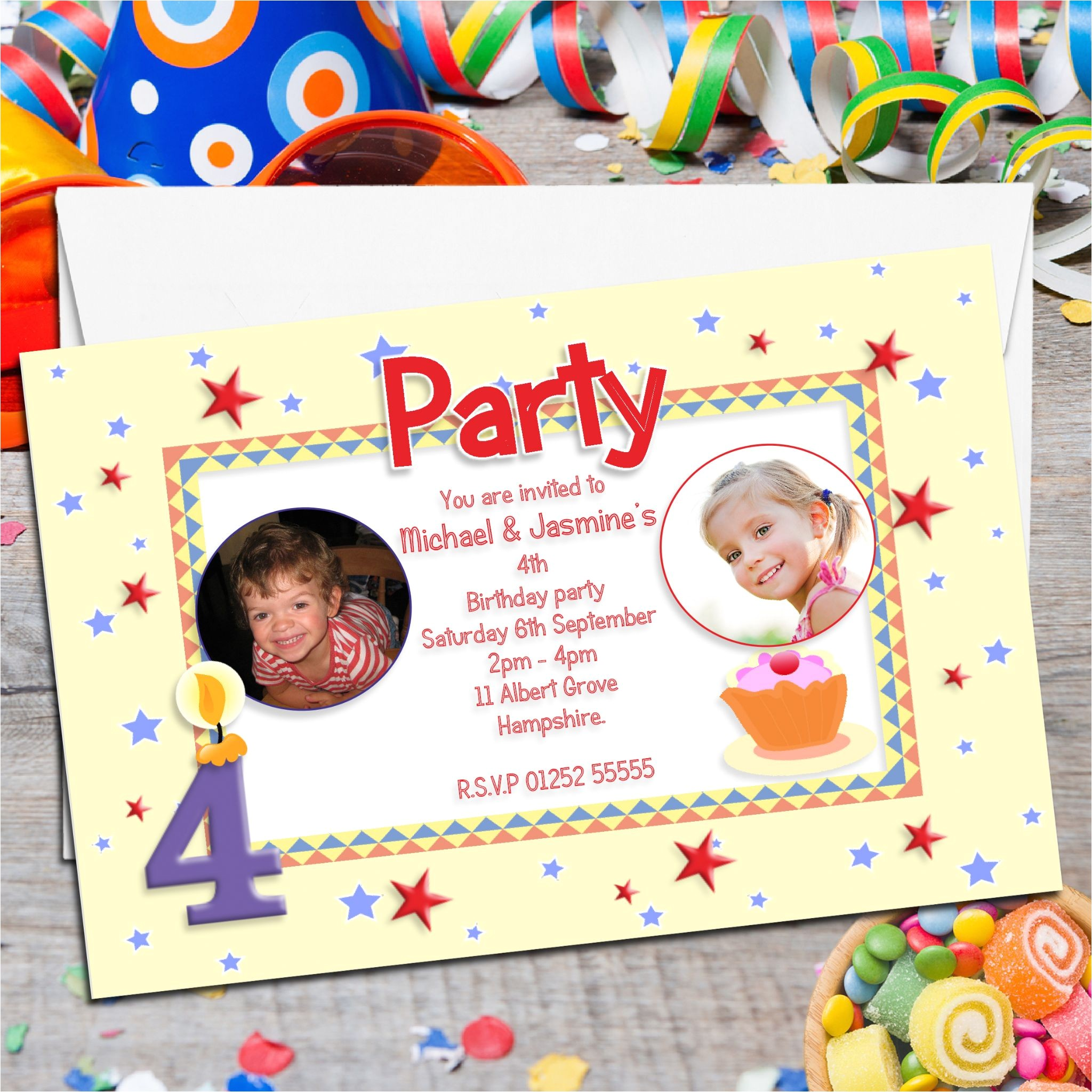 10 personalised twins joint birthday party photo invitations n6 607 p