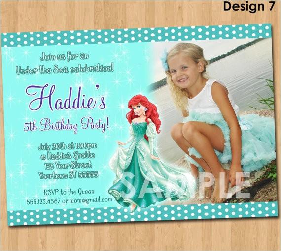 ariel the little mermaid invitation