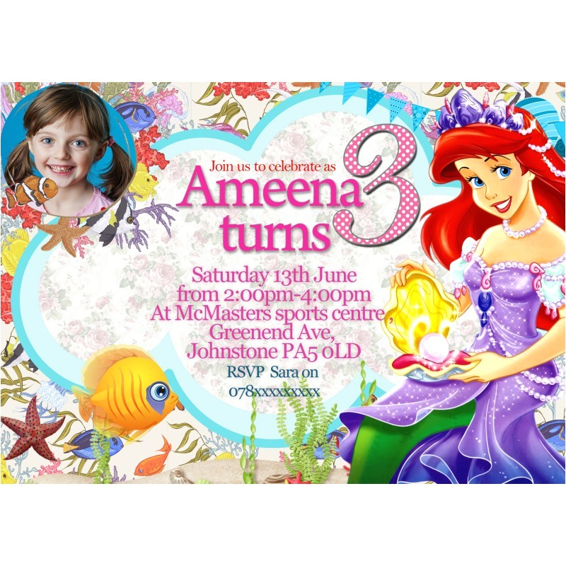 266 personalized birthday invitethank you card princess arielthe little mermaid
