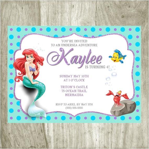 the little mermaid birthday invitation