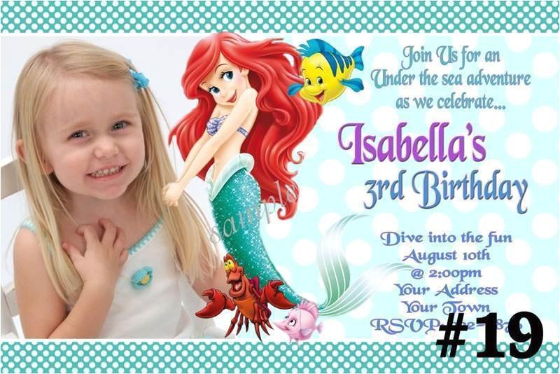 Personalized Ariel Birthday Invitations the Little Mermaid Princess Ariel Custom Photo Birthday
