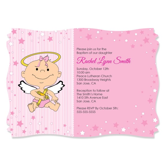 angel girl custom invitations printed personalized