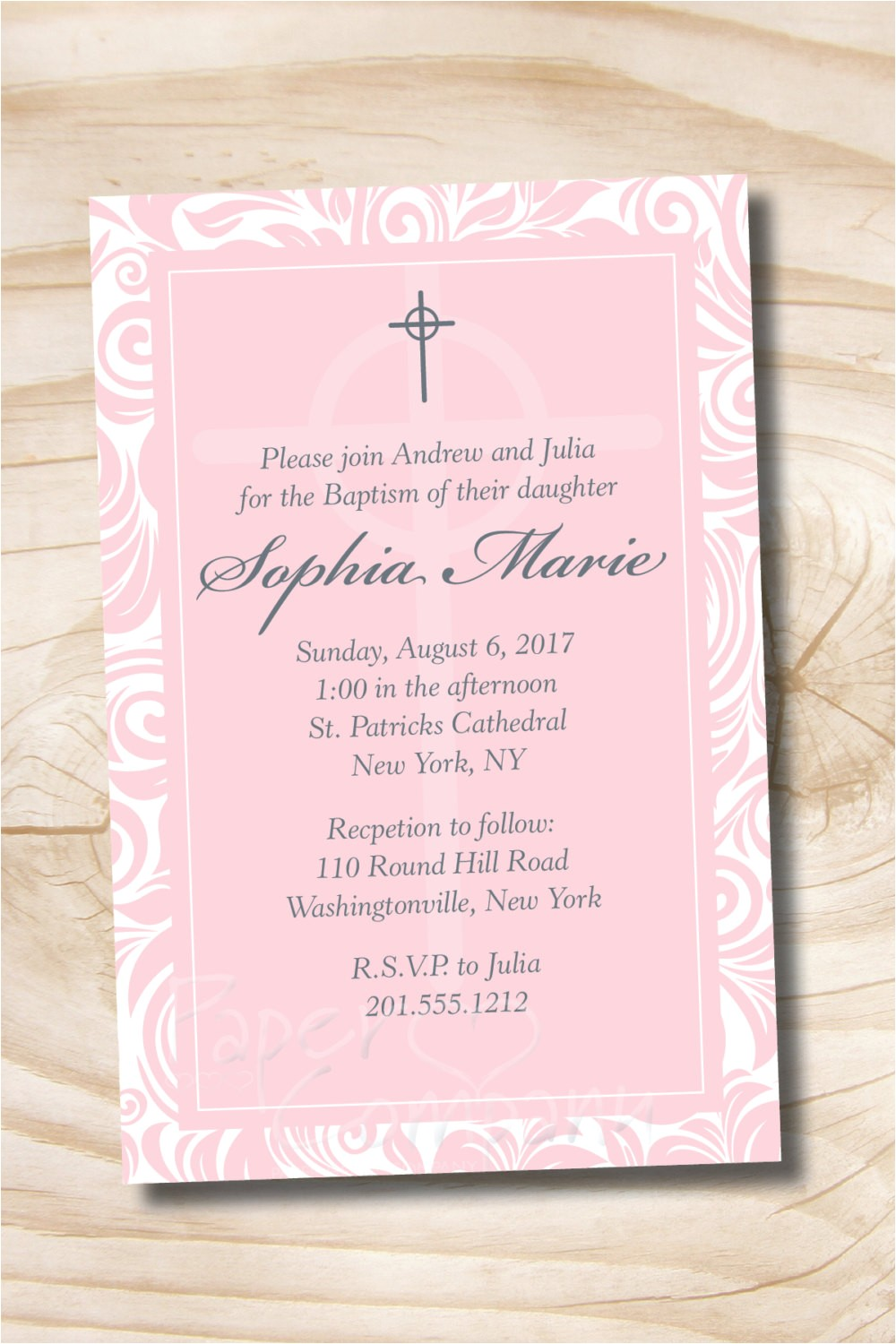 celtic cross custom baptism invitation