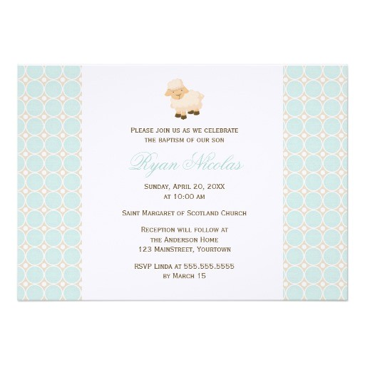 little lamb baptism personalized invitations