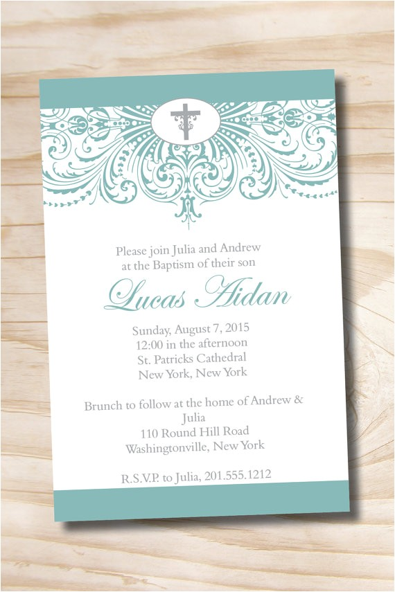 ornate baptism custom baptism invitation christening