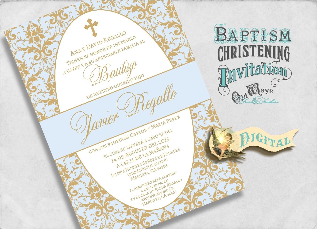 elegant spanish baptism invitations blue