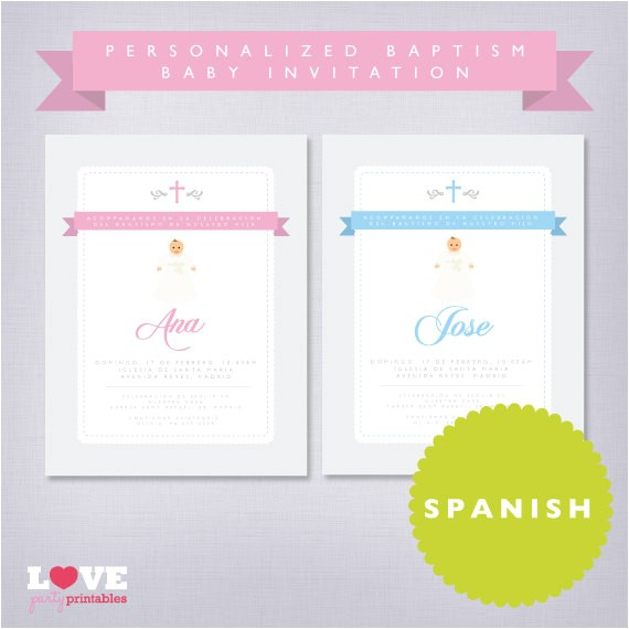Personalized Baptism Invitations In Spanish Spanish Personalized Baptism Printable by Lovepartyprintables