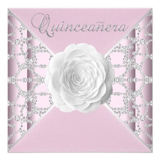 elegant pink rose quinceanera invitation 161782729685874386
