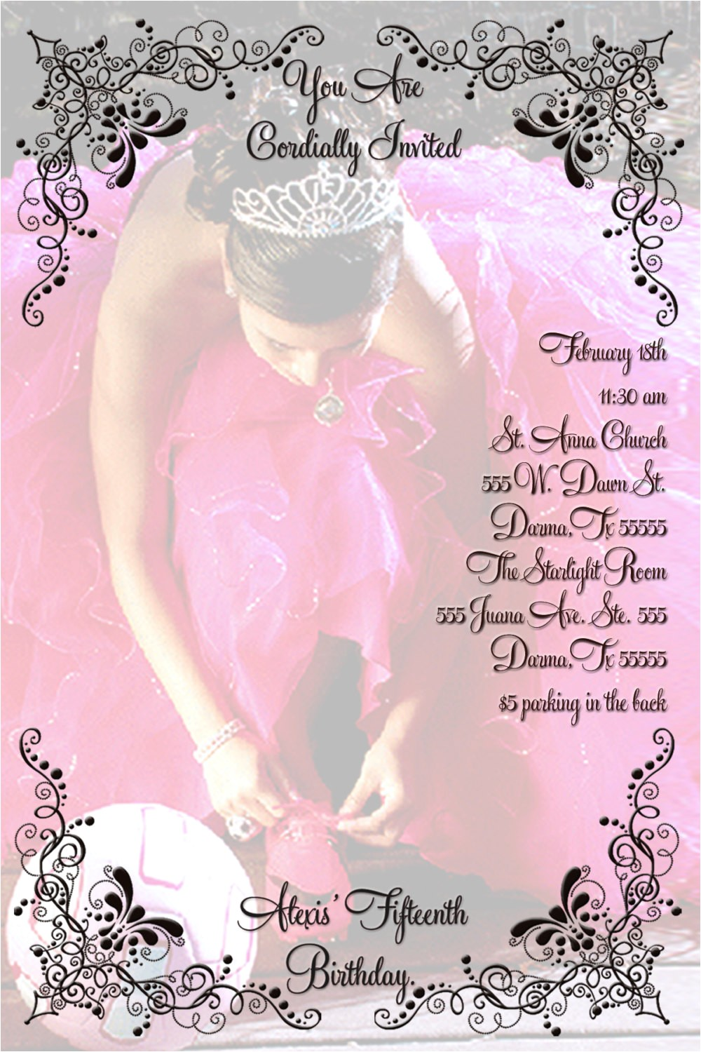 quinceanera invitation personalized with