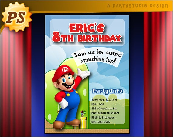 personalized super mario birthday party